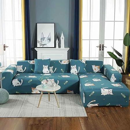 NO BRAND Fundas De Sofa Anti Gatos Funda De Sofá Elástica De Funda De Sofá Doble para Muebles De Sillón De Sala De Estar (Color : 1, Size : AA(190-230CM)+BB(190-230CM)): Amazon.es: Hogar