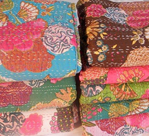 Designer Bedspreads Tropical Kantha Quilt Girls Bedding(Queen D.Pink)