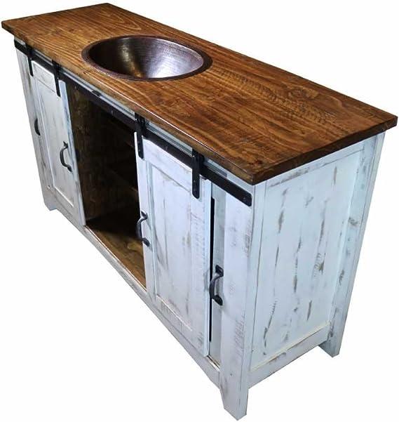 Burleson Home Furnishings Lavabo de 60 Pulgadas con Puerta corredera de Granja Blanca desgastada, Lavabo de baño Totalmente montado con desagüe de Cobre Instalado en el Fregadero: Amazon.es: Juguetes y juegos