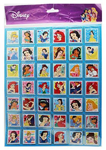 Disney Princess Blue Background Postage Stamp Design Stickers (42 (Princess Postage)