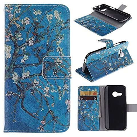 M8 mini Case HTC One Remix wallet Flip Case,Tribe-Tiger Stylish Beautiful Apricot Flower Design Premium Leather Magnet Slim Flip Kickstand Case Cover for HTC One Remix(Not Fit HTC One (M8 Cell Phone Case Wallet)