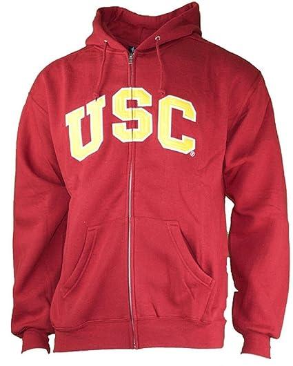 c3309049678a76 USC Trojans Mens Wordmark Full Zip Applique Hoodie Sweatshirt by 289c  (Large)