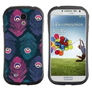 Suave TPU Caso Carcasa de Caucho Funda para Samsung Galaxy S4 I9500 / Feather Eye Teal Purple Bird / STRONG