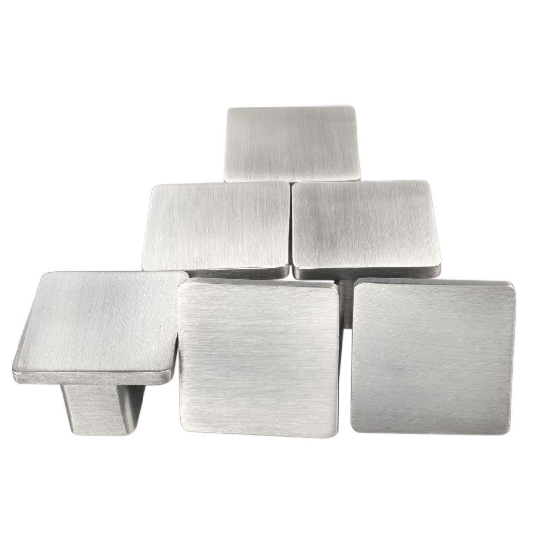 uxcell Set of 6 Modern Silver Metal Satin Finish Knob Furniture Door Cabinet Hardware Wardrobe Drawer Pull Handles Square Knobs #2