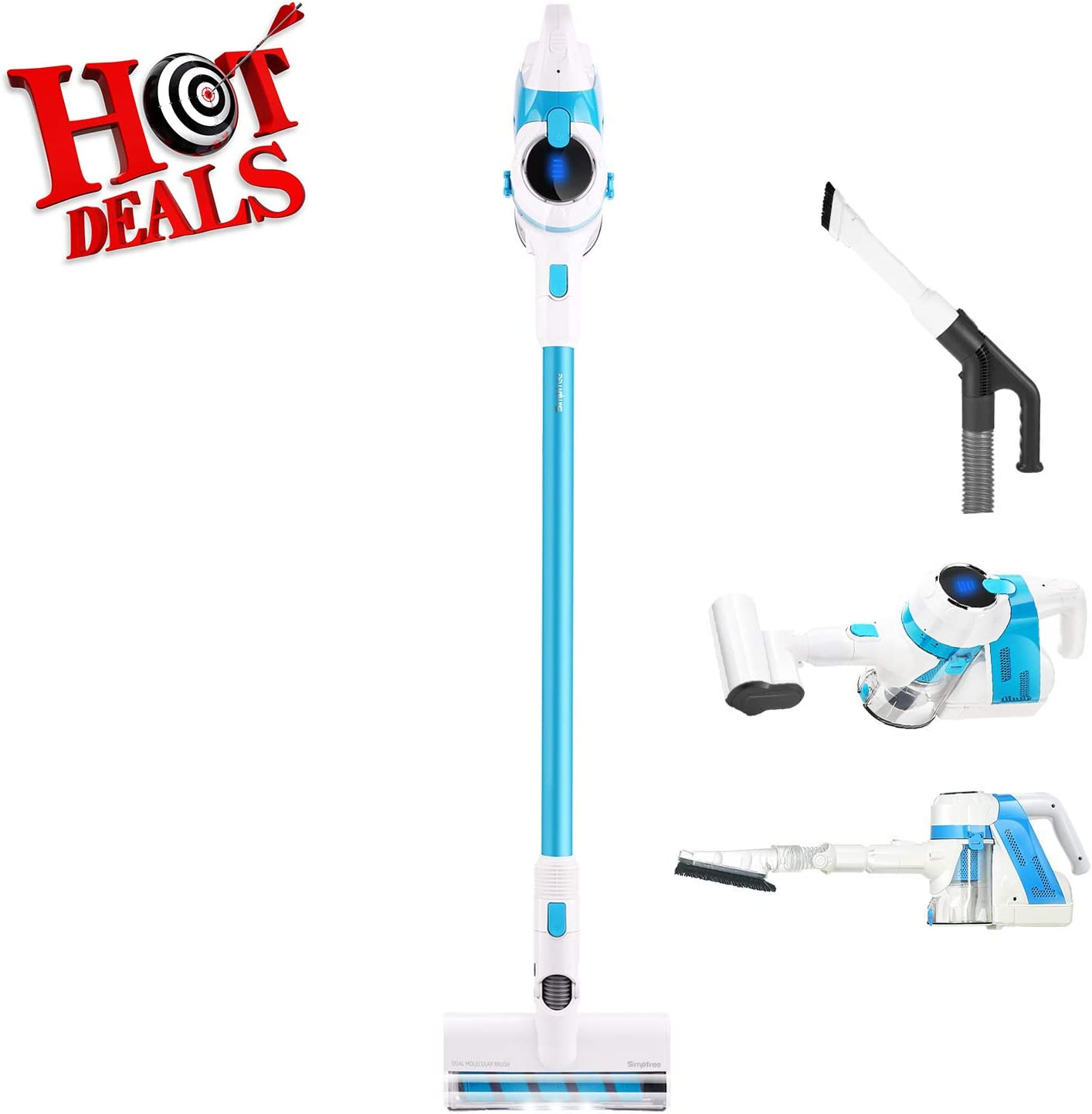SIMPFREE Cordless Vacuum, Lightweight Cordless Stick Vacuum with Electric Hose & LED Brush, Hand Vacuum for Carpet & Hardfloor - 5 in 1 Vacuum, Free Two Rechargeable Lithium Ion Battery