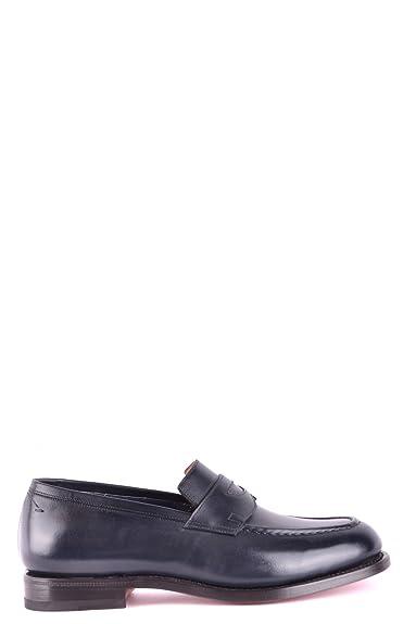 Men's MCBI267026O Blue Leather Loafers