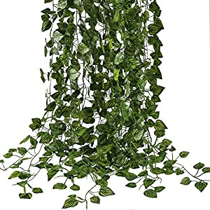 HOGADO Fake Vines, 79 FT Artificial Hanging Plants Silk Golden Devil's Ivy Leaves for Reptiles Wall Livingroom Outdoor Party Festival Decor Pack of 12 1