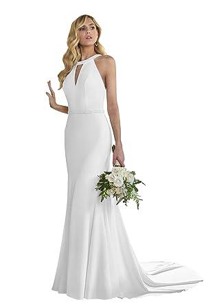 e4d7c6e6a8c6 Women's Mermaid Halter Beaded Satin Beach Wedding Dress Bridal Gown for  Bride (Ivory,2