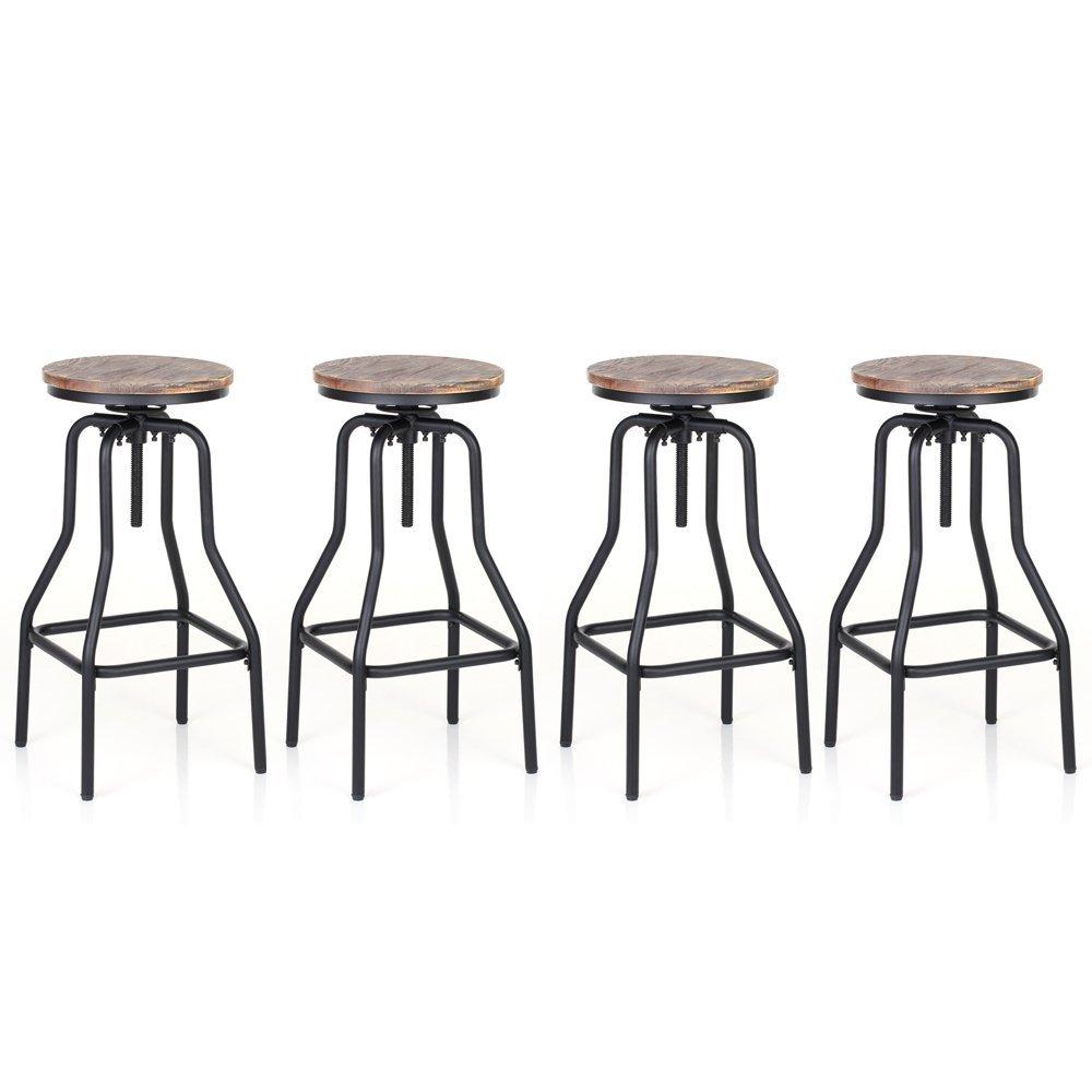 Set 4 Sedie Industriale Altezza Regolabile Girevole Sgabello Bar Naturale Legno di Pino Top Cucina Sala Colazione Sedia 4 Pezzi IKAYAA Sgabelli da Bar