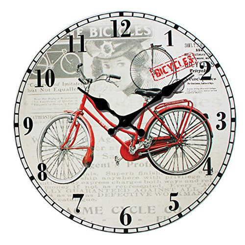 - Fashion Bicycle Wall Clock Simple European Style Wooden MDF Waterproof Silent Art Decor for Home Living Room Office Decoration (14inch)