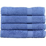 #9: Zachary Collection Elegant Ultra Absorbent Bath Towel Set [4 Pack] (Electric Blue)