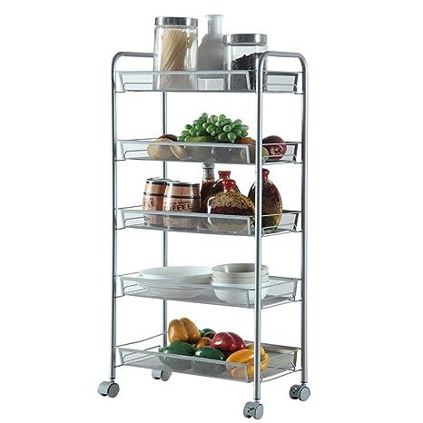 Xy Litol 5 Shelves Bar Organizer Cart - Narrow Kitchen Organizer Basket  Wheel for Bathroom Office Silver