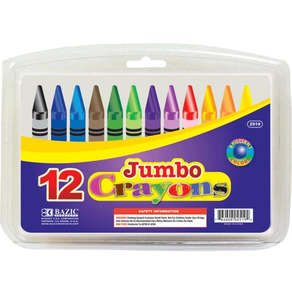 BAZIC Premium Color Jumbo Crayons 72 Packs of 12