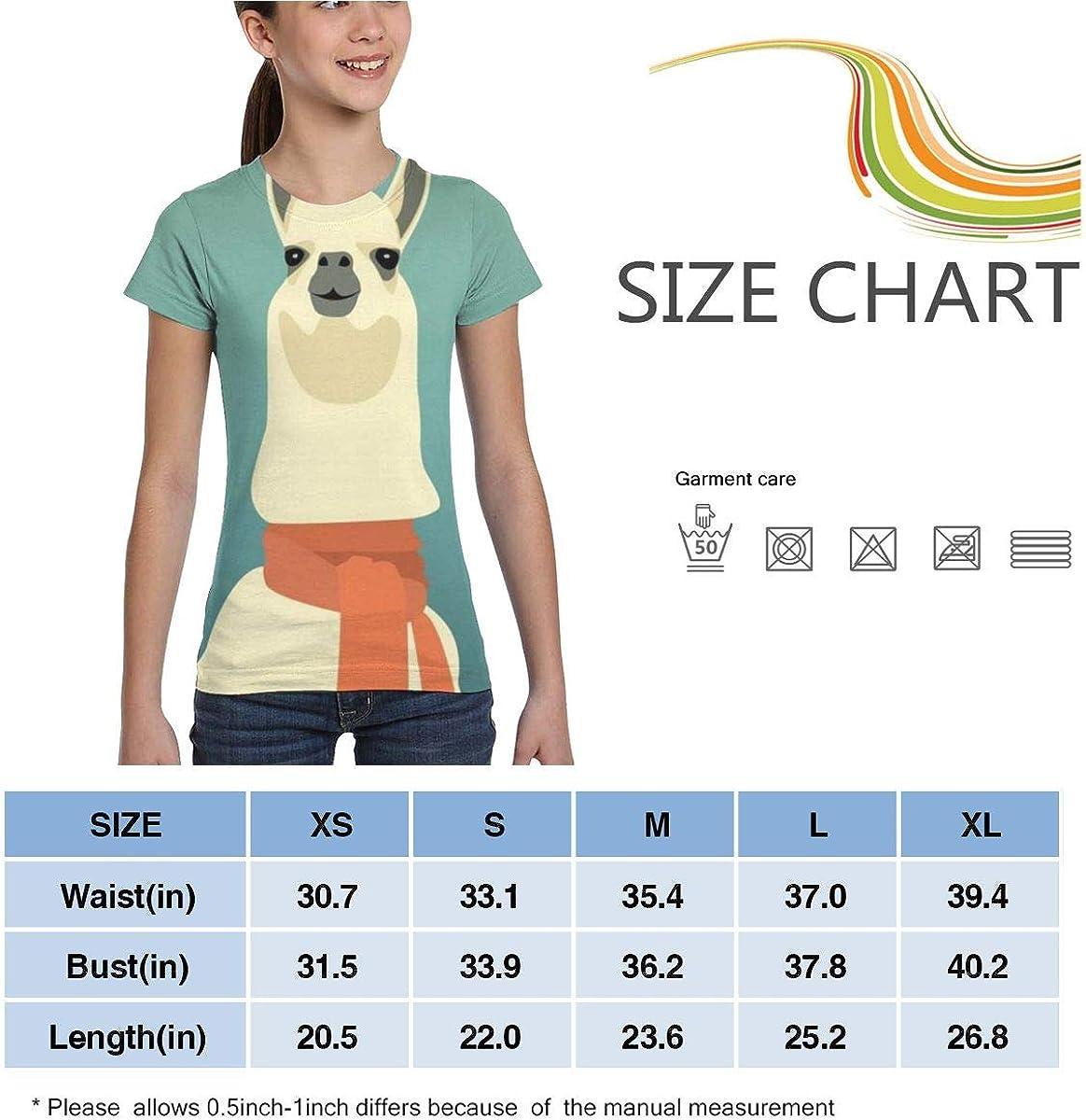 Girls Casual Loose Short Sleeve Alpaca Llama Fashion Round Neck Tops Tee Shirts