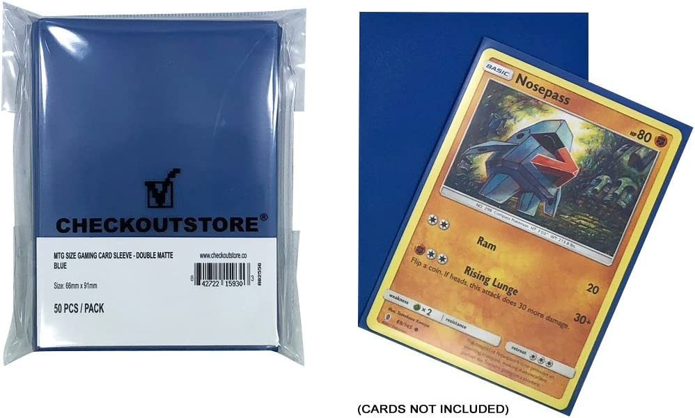 Double Matte Blue 100 66 x 91 mm Protective Sleeves for Trading Cards CheckOutStore