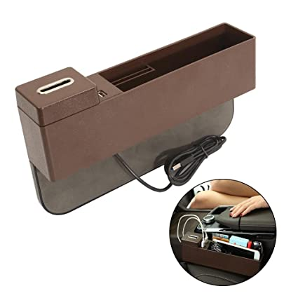 KOBWA Console Side Pocket with Coin /& Cup Holder Beige, Right Side Car Seat Organizer Caddy Slit Gap Filler PU Leather