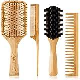 4Pcs Wooden Hair Brush Set, Detangling Brush and Comb Set for Men and Women, Detangler Brush Great on Wet Dry Long Thick Thin