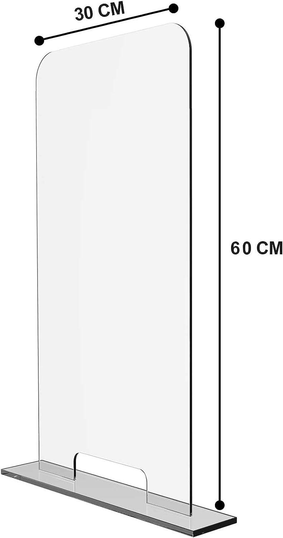 Pantalla Protectora de Cristal templado Barrera Protectora contra estornudos Separador para Mostradores//con Soportes Bajos o Altos Mampara de protecci/ón