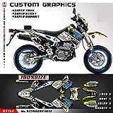 Kungfu Graphics Rockstar Custom Decal Kit for 1999 2000 2001 2002 2003 2004 2005 2006 2007 2008 2009 2010 2011 2012 2013 2014 2015 2016 2017 2018 2019 Suzuki DRZ400 SM DRZ400SM Supermoto, Black White