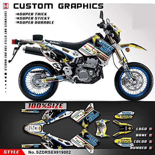 (Kungfu Graphics Custom Decal Kit for Suzuki DRZ400 SM Supermoto 1999 2000 2001 2002 2003 2004 2005 2006 2007 2008 2009 2010 2011 2012 2013 2014 2015 2016 2017 2018 2019, Black White, SZDRSE9919002)