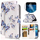Samsung Galaxy S3 Case, Luxury Dual Wallet Case [9 Card Holder] Premium PU Leather Multifunctional Embossing Pattern Book Style Magnetic Flip Stand Feature Cover Slim Protective Money Pocket Bumper - Blue Butterfly
