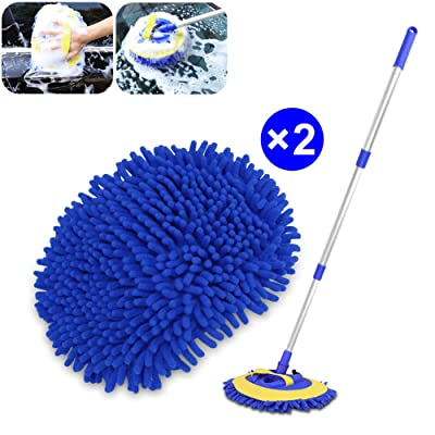 "2 in 1 Chenille Microfiber Car Wash Mop Mitt Brush Duster with 45"" Aluminum Long Handle, Scratch Free Cleaning Tool Dust Collector Supply 180°Rotation for Washing Car Truck RV SUV. 2Pcs Mop Head: Automotive"