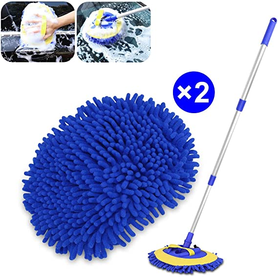 2 in 1 Chenille Microfiber Car Wash Mop Mitt Brush Duster with 45