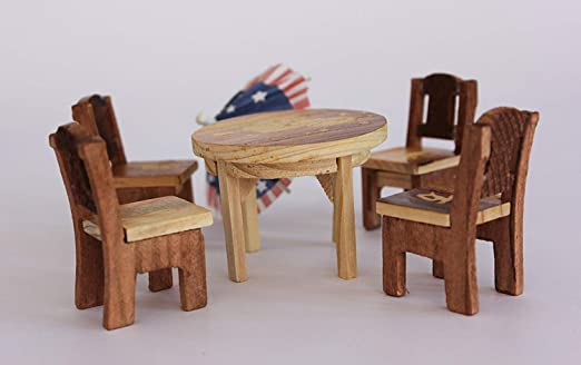Craft Expertise Wooden Miniature Chair and Table Set for Kids Dollhouse Furniture Set of 2