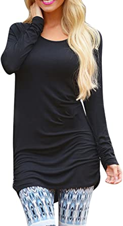 Pink Queen Women's Casual Long Sleeve Slim Ruched Tunic Tshirt Dress to Wear with Leggings