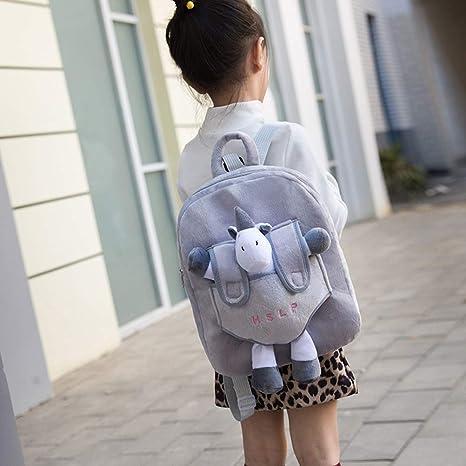 TENDYCOCO Mochilas para niños Unicornio Mochila Escolar Mochila Preescolar Bolsa de Peluche Juguete Animal para niños pequeños (Gris): Amazon.es: Hogar