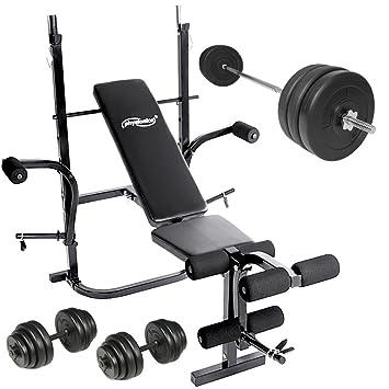 Physionics - Banco de musculación con juego de pesas para entrenamiento eficaz: Amazon.es: Deportes y aire libre