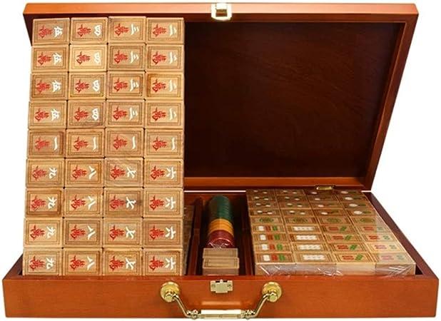 Mah Jong Baldosas Juegos de Mahjong Chino Set Juego de Mesa Chino Tradicional Mahjong Verde sándalo Nogal Box Entretenimiento Favorito Mejor Regalo for el Amante de Mahjong Chino: Amazon.es: Hogar