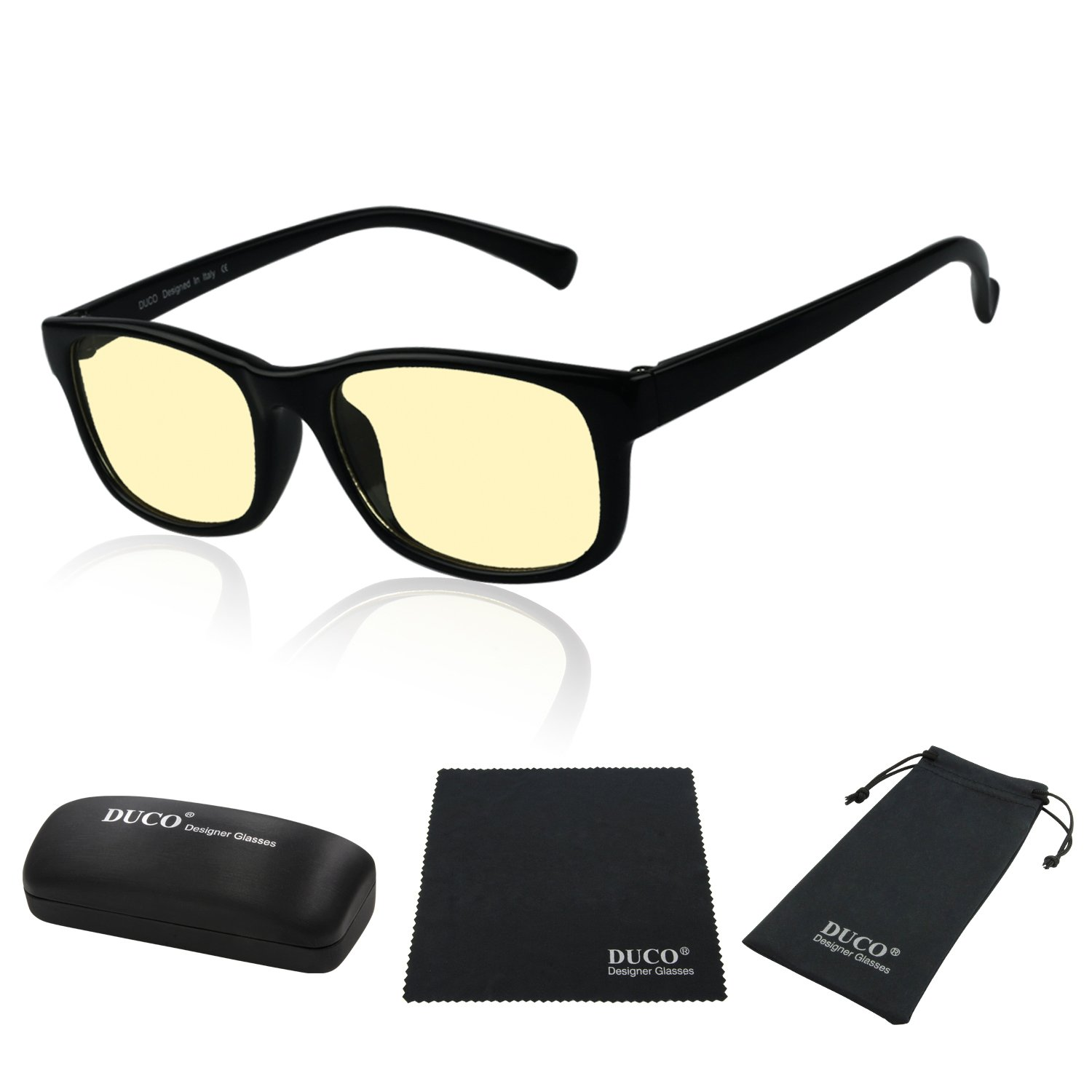 741956a21a Duco Full Rim Ergonomic Video Gaming Glasses Computer Glasses with Anti  Glare Amber Lens Tint 8016