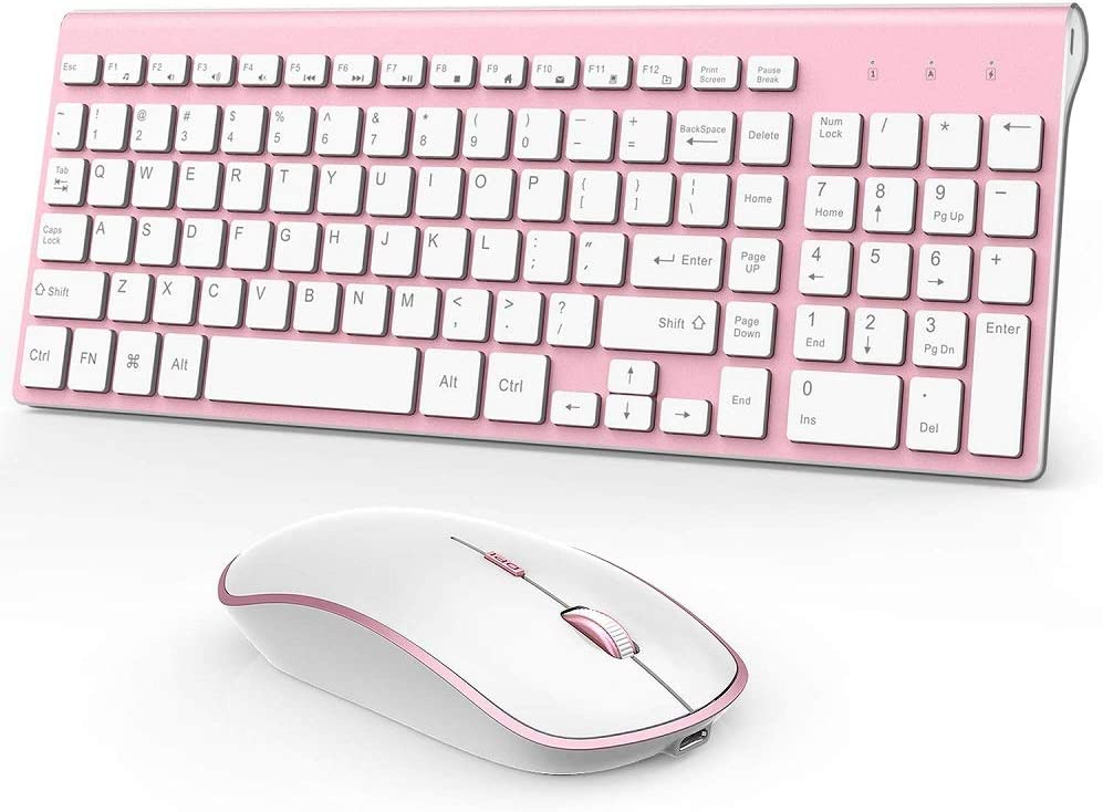Wireless Keyboard and Mouse Combo Rechargeable Ergonomic Wireless Full Size Ultra Slim Quiet Keyboard and Cordless Mouse Set for Laptop and Desktop(Rosy Gold)