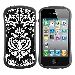 All-Round híbrido de goma duro caso cubierta protectora Accesorio Generación-I BY RAYDREAMMM - Apple iPhone 4 / 4S - Pattern Wallpaper Art Black White Royal