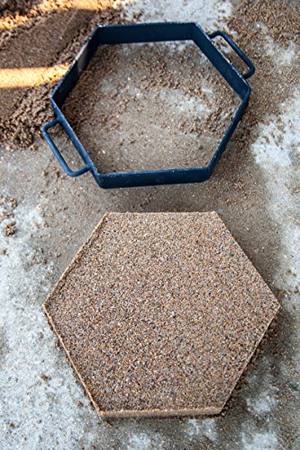 NEW Set Of 3 Hexagon Patio Stepping Stone 8'' 12'' 16'' Inch CONCRETE CEMENT MOLD Walk/Pathway Maker Paver ALL METAL MADE IN USA DYI by EZ Block Mold Company USA (Image #4)