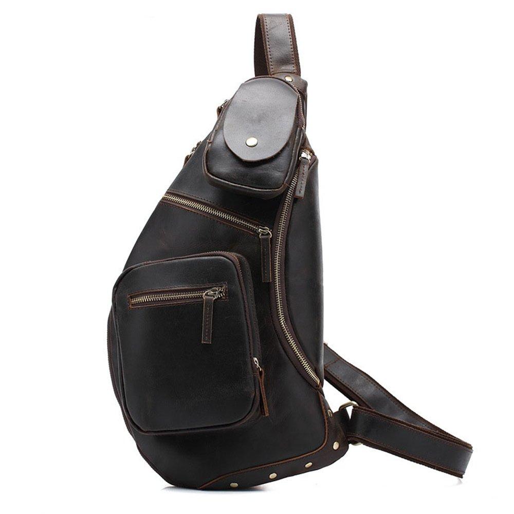 Brown Zxcvlina Simple Retro Zippered Leather Chest Bag Shoulder Bag Messenger Bag Color