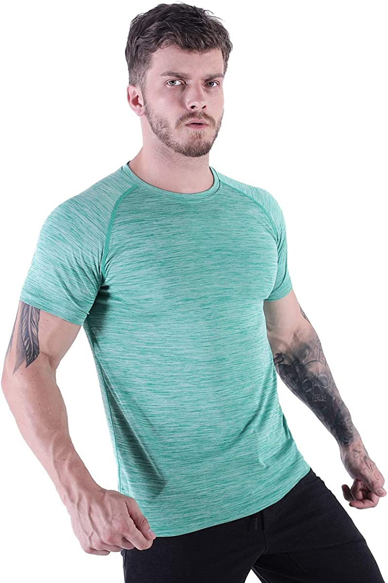 HMILES Mens Short Sleeve Workout Running T-Shirts Active Training Tee Regular Fit Crew Neck Top