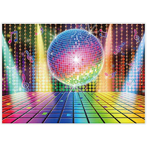 Allenjoy 7x5ft 70s Theme Party Decorations Disco Backdrop Banner 70's Photo Booth Backdrop Wall Decorating for Let's Glow in The Dark Adult Neon Disco Birthday Supplies 80s 90s Background Prom ()