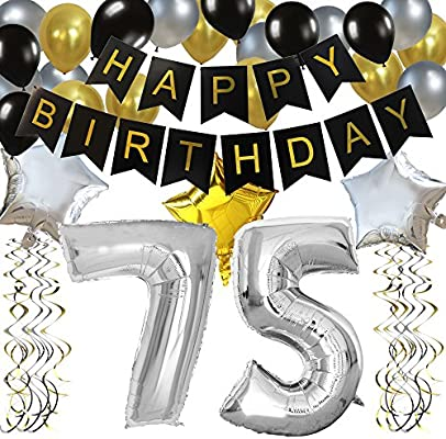 KUNGYO Classy 75TH Birthday Party Decorations Kit Black Happy Brithday BannerSilver 75 Mylar Foil Balloon Star Latex BalloonHanging Swirls