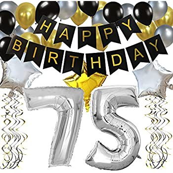 Amazon.com: KUNGYO Classy 75TH Birthday Party Decorations ...