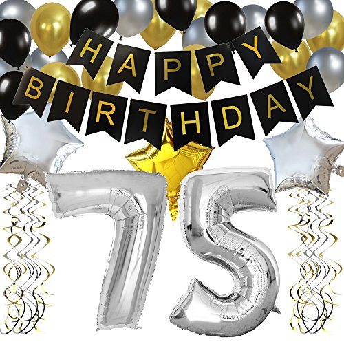KUNGYO Classy 75TH Birthday Party Decorations Kit-Black Happy Brithday Banner,Silver 75 Mylar Foil Balloon, Star, Latex Balloon,Hanging Swirls, Perfect 75 Years Old Party -
