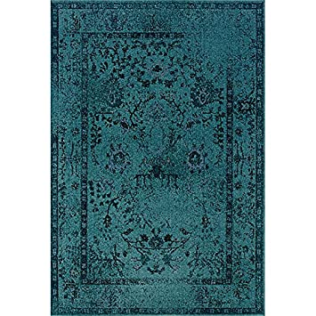 Amazoncom Area Rug Woven Teal Contemporary Overdyed Oriental