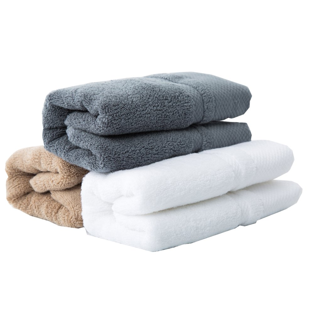 sense gnosis Premium 100 Percent Cotton Hand Towels Ultra Soft Highly Absorbent Quick Dry Towel Multicolored Home Spa, Towel Set of 3, 13 X 29 Inch (White, Khaki, Grey)