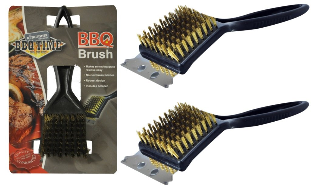 2 x Heavy Duty Firm Brass Bristles BBQ Oven Grill Cleaning Brush & Scraper Kingfisher
