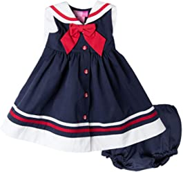 8da33d20c739d Good Lad Newborn & Infant Baby Girls Navy Poplin Nautical Dress with  Matching Panty