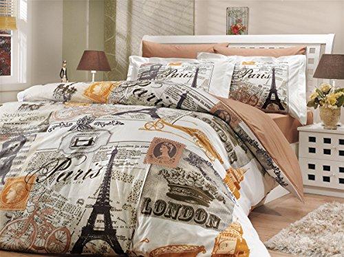 LaModaHome Culture Duvet Cover Set, 100% Cotton - Eiffel Tower and Big Ben Clock Tower, Paris, London, Souvenir - Set of 3 - Duvet Cover and Two Pillowcases for Queen Bed ()