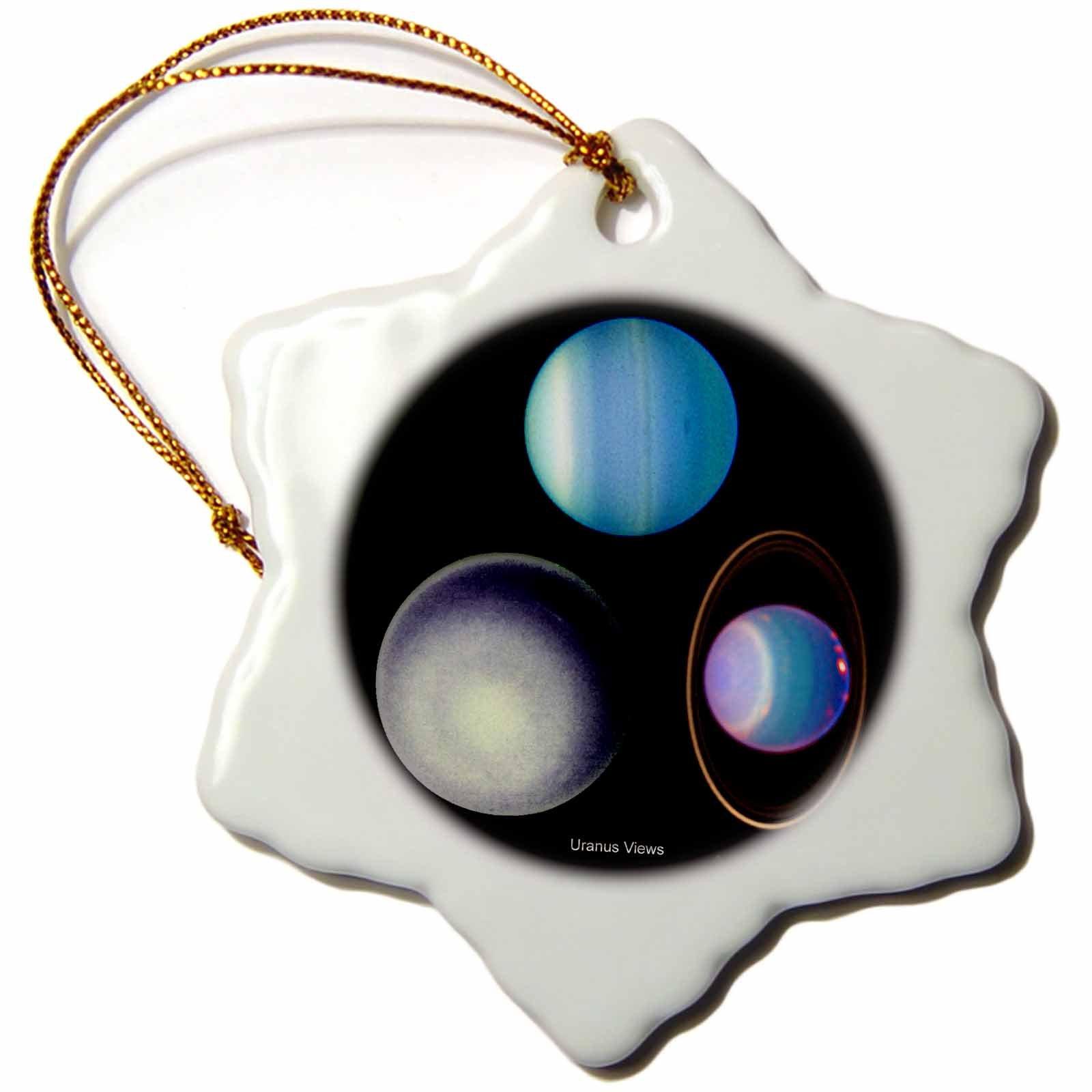 3dRose orn_76837_1 Solar System Uranus Views Snowflake Porcelain Ornament, 3-Inch