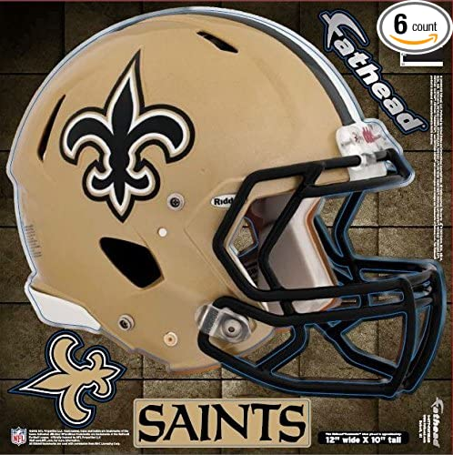 Fathead 89-00972 New Orleans Saints Helmet Wall Graphic Measures 12 X 15.5 in Pack of 6