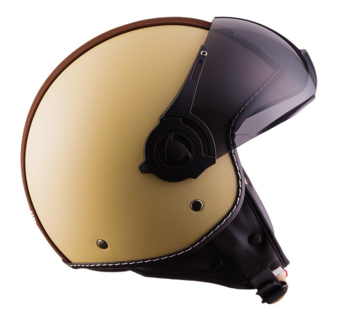 L Moto Helmets H44 Blanco//Cuero Helmet Casco de Moto 59-60cm